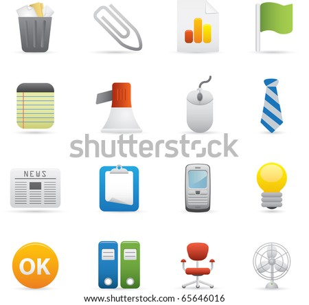 10 Office Icons Professional vector set for your website, application, or presentation. The graphics can easily be edited color individually and be scaled to any size