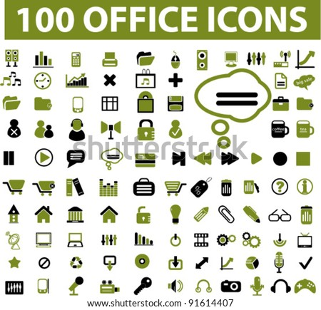 100 office icons set, vector illustration - stock vector