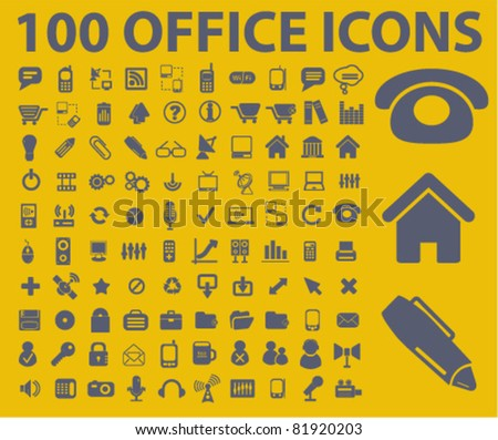 100 office icons, signs, vector illustrations - stock vector