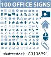 100 office icons, signs, vector illustrations set - stock vector