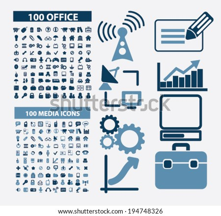 200 office, media, communication, business, analytics, computer, technology icons set, vector - stock vector