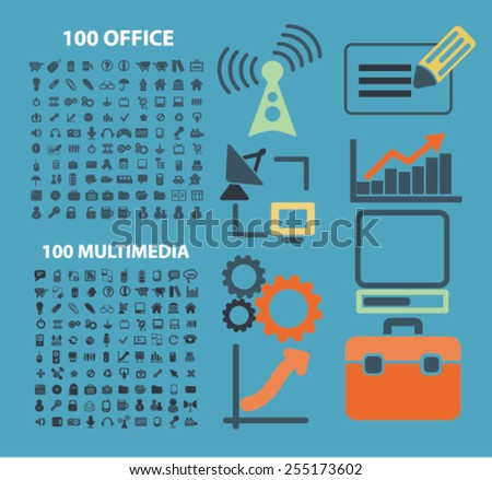 200 office, media, website, internet, business flat isolated concept design icons, symbols, illustrations on background for web and applications, vector - stock vector
