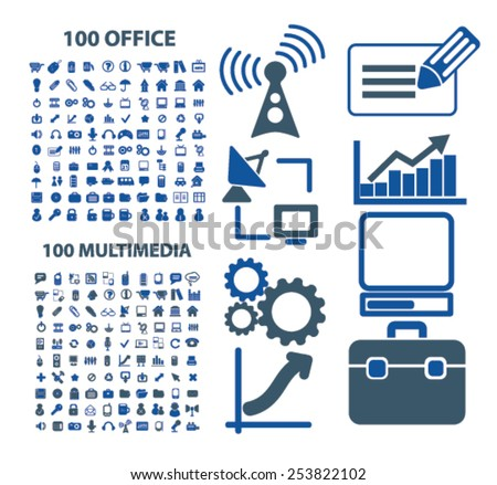 200 office, multimedia, computer, technology, communication isolated flat icons, signs, symbols illustrations, images, silhouettes on background, vector - stock vector
