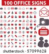 100 office signs. vector - stock vector
