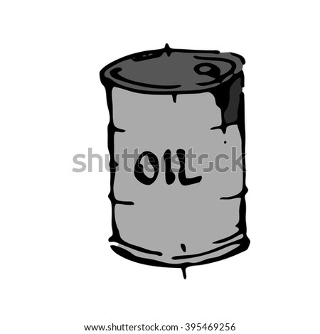 Oil barrel hand drawn white isolated. Stock vector illustration. - stock vector