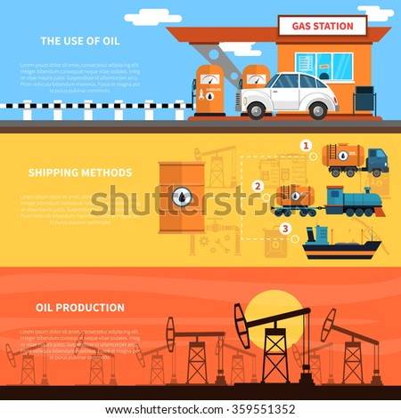 Oil horizontal banners set with gas station shipping and production symbols flat isolated vector illustration  - stock vector