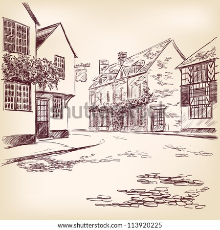 old English street  hand drawn vector llustration