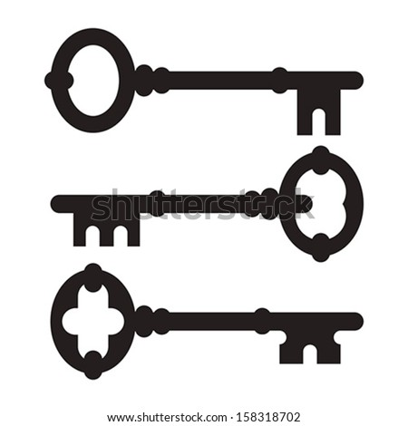 Old key silhouette set isolated on white background - stock vector