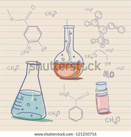 Old science and chemistry  laboratory - stock vector