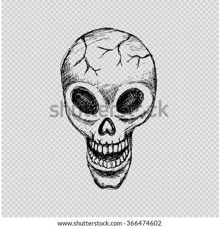 OLD SKULL. Hand drawing illustration.