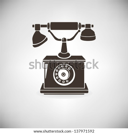 old telephone, vintage telephone - stock vector
