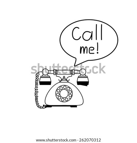 "'Oldschool retro phones with text baloon and sign ""Call me!"". Print"