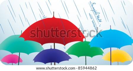?olored umbrellas - stock vector