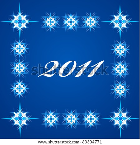 2011 on blue background with stars. new years greeting card template. - stock vector