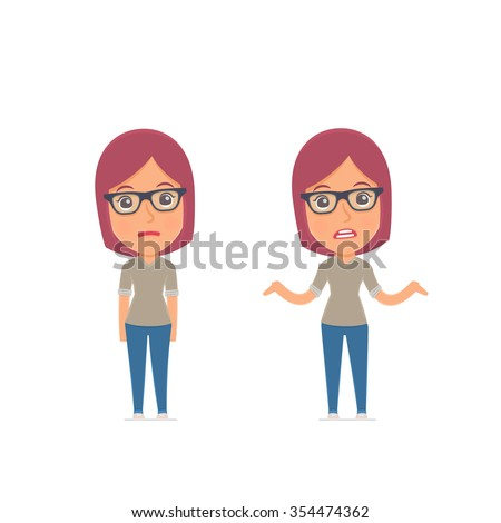 Ð¡onfused  Character Girl Designer embarrassment and does not know what to do. for use in presentations, etc. - stock vector