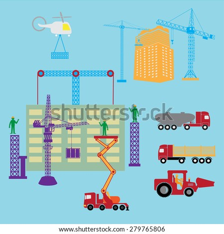 ?onstruction icons set. Construction worker production process of design manufacture assembly vector illustration  with house building and cranes.  - stock vector