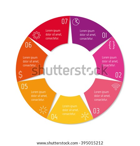 8 options infographic banner. Circular workflow layout with triangle parts. Number banner template for diagram, presentation or chart. Progress steps for tutorial. Business concept sequence banner. - stock vector