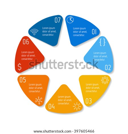 7 options infographic banner. Circular workflow layout with triangle parts. Number banner template for diagram, presentation or chart. Progress steps for tutorial. Business concept sequence banner. - stock vector