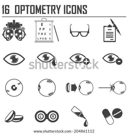 16 optometry icons - stock vector