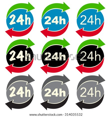 24 or 24 hour icon set in vector for different use - stock vector