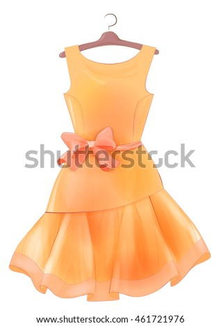 Orange  dress with bow.  Outfit for party. Festive women's attire Fashion cocktail dress on the hanger.  Female clothing. Summer clothing. Dress to celebrate Christmas and New Year. Cocktail dress.