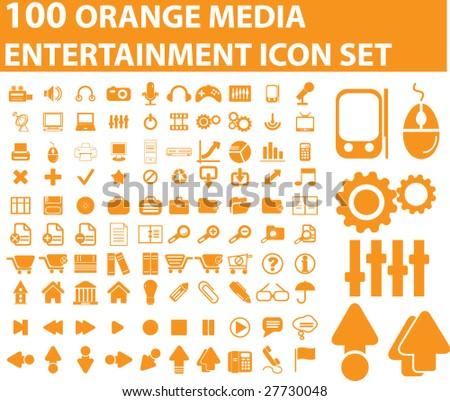100 orange entertainment icon vector set - stock vector