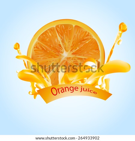orange juice and orange  . done gradient mesh on blue background . vector illustration . eps 10 - stock vector
