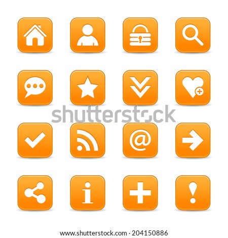 16 orange satin icon with basic sign. Rounded square web internet button with gray shadow on white background. Vector illustration design element 8 eps - stock vector