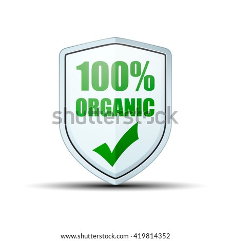 100% Organic shield sign - stock vector