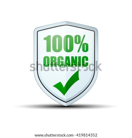 100% Organic shield sign - stock vector