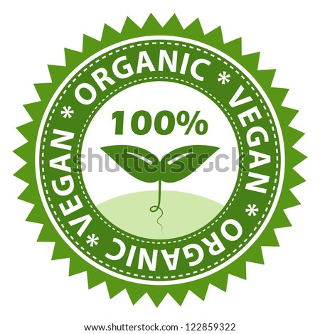 100 Organic Vegan Food Label Stock Vector 122859322 Shutterstock