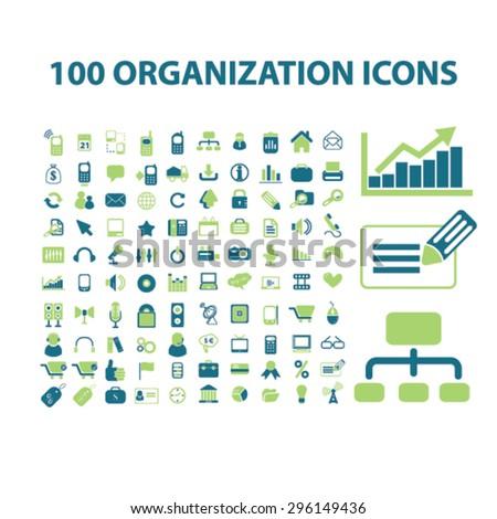 100 organization, management, analytics icons, signs, illustrations set, vector - stock vector