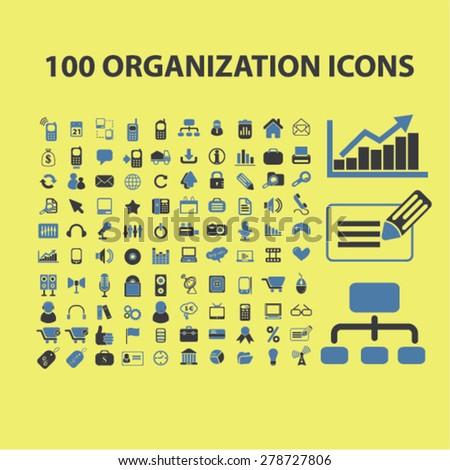 100 organization, management, marketing icons, signs, illustrations set, vector - stock vector