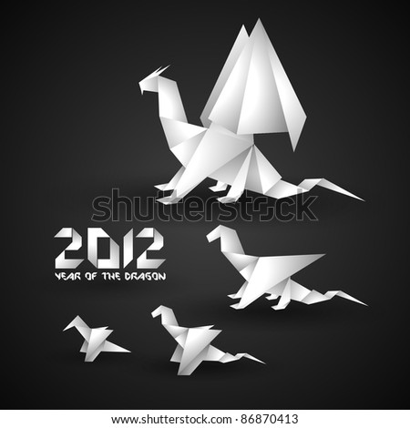 2012 Origami Dragon Background - stock vector