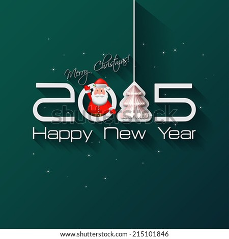 2015 Origami Happy New Year Tree greeting card with Santa Claus on green background.  Vector illustration. - stock vector