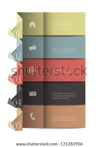 Origami paper numbered banners .Trendy design template infographics, website templates and graphic business design. Vector EPS10 in retro colors - stock vector