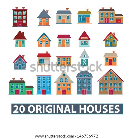 20 original houses, buildings icons, signs set, vector - stock vector