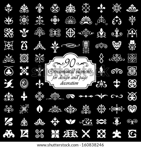 90 Ornamental elements for design and page decoration - Isolated On Black Background - stock vector