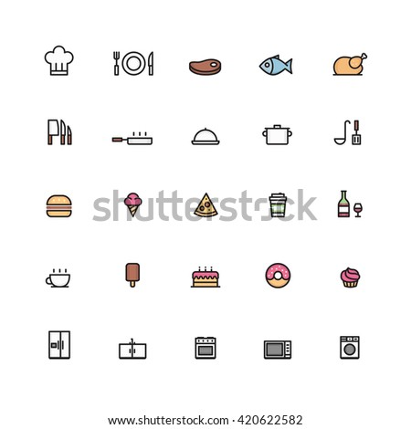 25 Outline Cooking Icons Color Flat Outline Line Icon Cook Interiors Interior Technology Set Collection - stock vector