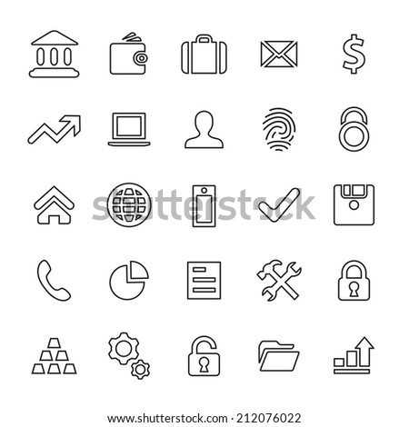 25 outline, universal bank icons, thin, black on white background