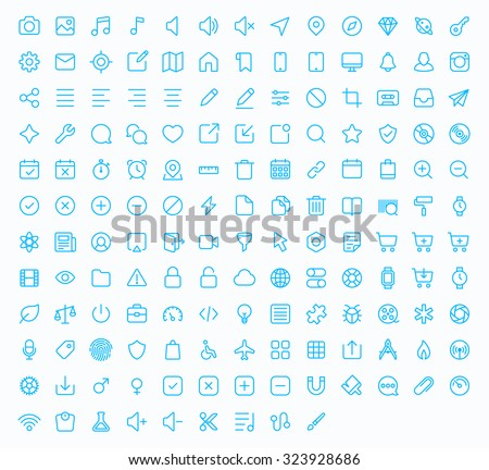 Outline vector icons for web and mobile. 152 glyph - stock vector