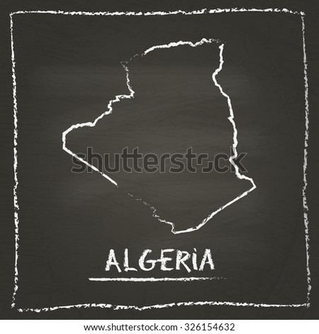 Outline vector map of Algeria hand drawn with chalk on a blackboard. Chalkboard scribble in childish style. White chalk texture on black background - stock vector