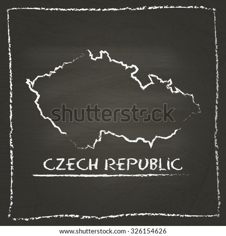 Outline vector map of Czech Republic hand drawn with chalk on a blackboard. Chalkboard scribble in childish style. White chalk texture on black background - stock vector