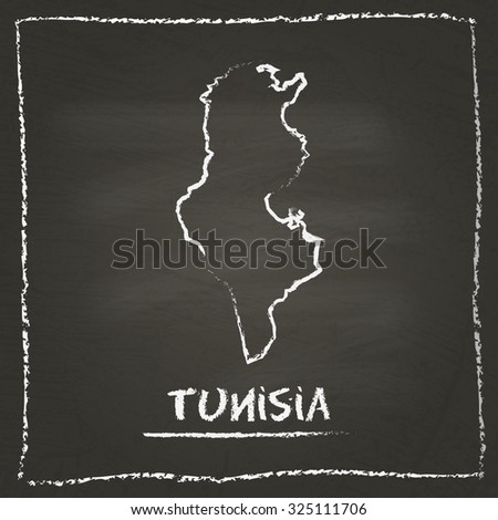 Outline vector map of Tunisia hand drawn with chalk on a blackboard. Chalkboard scribble in childish style. White chalk texture on black background - stock vector