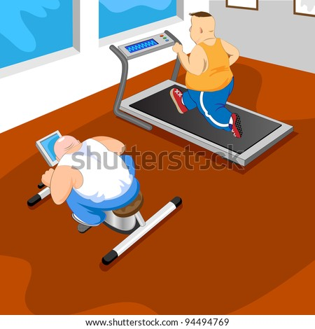 Overweight men in GYM.Vector illustration - stock vector