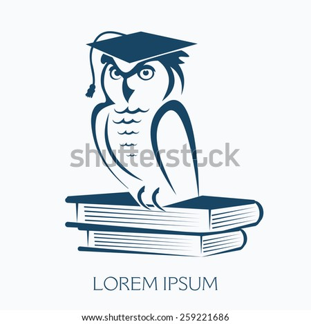 OWL WITH GRADUATION CAP SITTING ON BOOKS illustration vector - stock vector