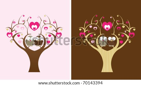 2 owls sit in a love tree, 2 colour options - stock vector