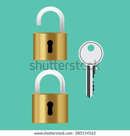 padlock lock steel with key isolated vector illustration - stock vector