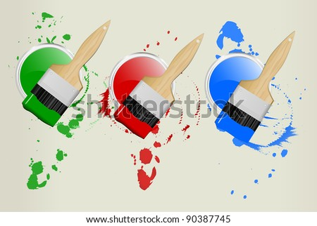 3 paint cans and brushes, vector illustration, red,green,blue - stock vector