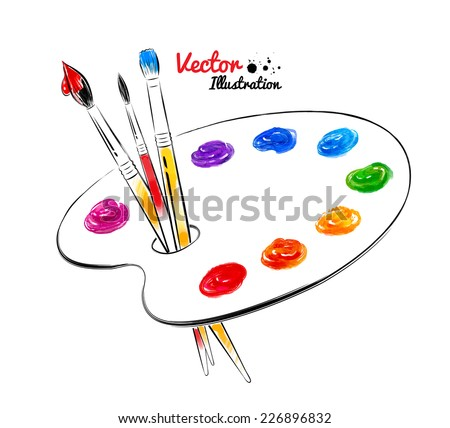Paint palette. Hand drawn watercolor and line art. Vector illustration. isolated. - stock vector